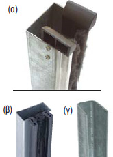 """Guides made of 1,5 - 2mm thick, """"Ω"""" shaped galvanized steel that works together with a brush strip to reduce friction and noise. With special aluminum profile (a), special PVC rubber seal (b). Guides made of """"U"""" shaped galvanized profile (c)."""