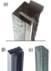 Οδηγοί από γαλβανιζέ χάλυβα πάχους 1,5 - 2mm σε σχήμα