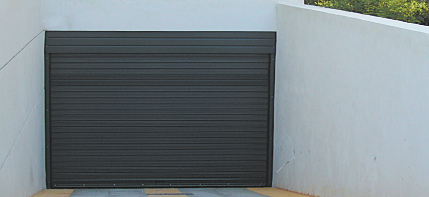 Roller shutter made of galvanized steel profile, 80 mm wide.