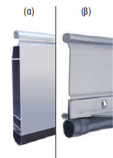 An elastomer PVC strip is attached to the aluminum (a) or steel (b) last profile (endplate) for enhanced sealing.