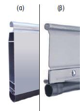 Στο τελευταίο προφίλ (ποδιά), από αλουμίνιο (α) ή χαλύβδινο (β) προσαρμόζεται ελαστομερές PVC για καλύτερη στεγανοποίηση.