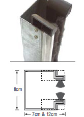 """Guide made of 1,5 - 2mm thick, """"Ω"""" shaped galvanized steel that works together with a special aluminum profile and brush strip to reduce friction and noise."""