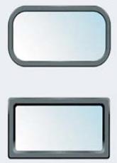 Παράθυρα επόπτευσης & φωτισμού  Η γκαραζόπορτα Voyager μπορεί να δεχτεί ειδικά παράθυρα από συμπαγές PVC σε σχήμα οβάλ ή παραλληλόγραμμο, που εφαρμόζονται με ειδικά ελαστομερή λάστιχα από PVC για απόλυτη στεγάνωση (έξτρα εξοπλισμός).